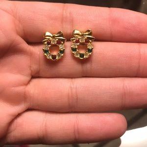 Avon Christmas Wreath Ruby Emerald CZ Earrings